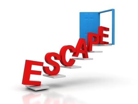 escape conceptual red door Stock Photo
