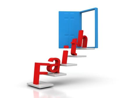 faith red word conceptual door