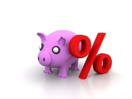 Percentage piggy bank symbol with a percent sign and pink savings pigs as representations in the financial icon representing interest rates and the business of lending and loans on a white background