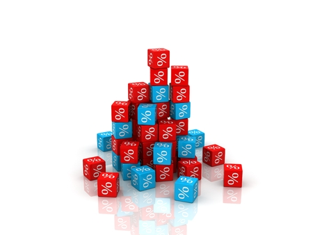 Red percent cubes on white