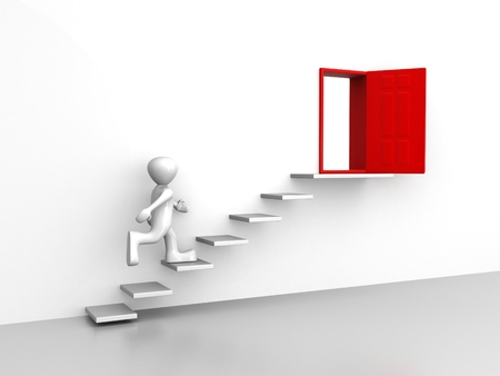 Door run stairs A person runs to a opened door on the stairs Stock Photo