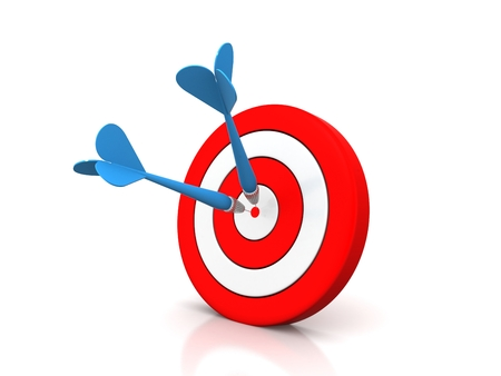 Business Success Concept - dart hitting target Stock Photo