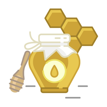 Honey bottle category icon, vector line flat illustration for shop and symbol of manufacturing of honey. Traditional Russian sweets and Candy. Illustration