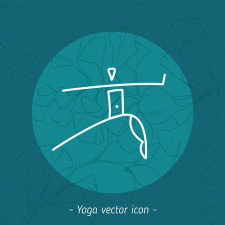 Vector yoga icon, linear ornamental logo design, line yoga badge. Graphic design element in contour for the creation of banner for the spa center of yoga school studio.