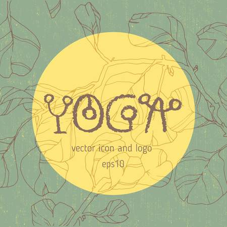 Vector yoga icon, linear icon design, line yoga badge with floral ornaments. Graphic design element in contour for the creation of banner for the spa center of yoga school studio..
