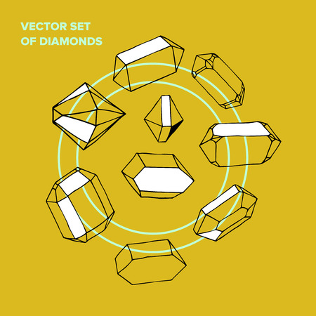 Vector symbol of ink yellow crystal with geometrical linear flat diamond. Trendy icon terrarium.