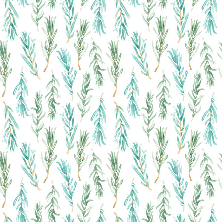 Watercolor Rosemary pattern seamless, green rosemary decoration, craft label design bio food, vegetarian natural banner, restaurant menu background Stock Photo