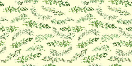Seamless green thyme pattern, Watercolor herbal decor, cooking spices background with natural watercolor illustration, art for design label, bright vegetarian banners, menu of restaurants 版權商用圖片