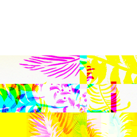 Glitch palms. Abstract chemical glitching effect. Random digital signal error. Abstract colorful background. Element of design for a trendy poster, music cover, business card, invitation or postcard, label template background.
