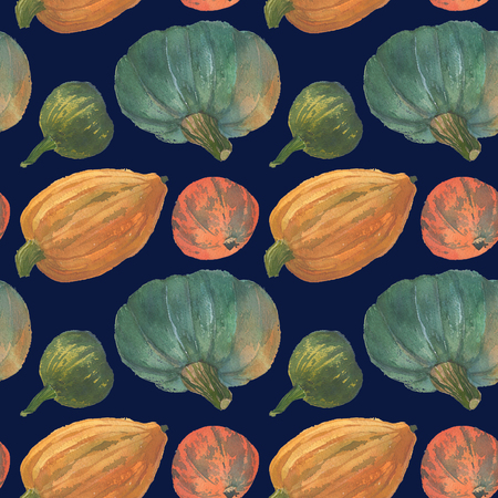 The orange and greenery pumpkins seamless watercolor pattern background with the natural paper texture for the creative design of the eco shop and bio store, organic food.
