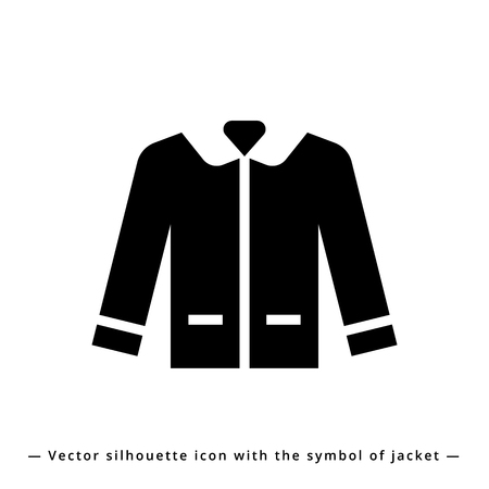Icon leather jacket with trendy casual symbol for shop man's clothes. Icon jacket silhouette for app, e-shop business, shop sign and banner.