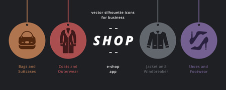 Clothes shop icons. Universal set of clothes silhouette style with  female shoes and handbag, beauty accessories collection, male jacket.Shopping badges.