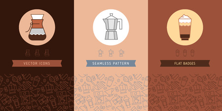 Coffee vector seamless pattern with trendy thin line icons and alternative coffee brewing, vector coffee shop background with linear icons set.