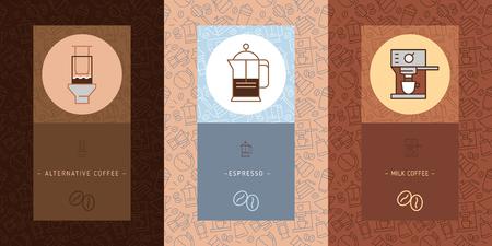 Modèle sans couture de vecteur de café avec des icônes de ligne mince à la mode et brassage de café alternatif, fond de café vectoriel avec jeu d'icônes linéaires. Vecteurs