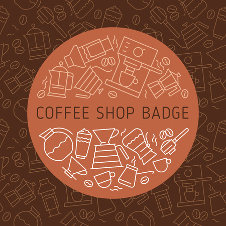 Coffee icon, cafe emblems, thin line badge, vector coffeeshop symbol, coffeehouse sign