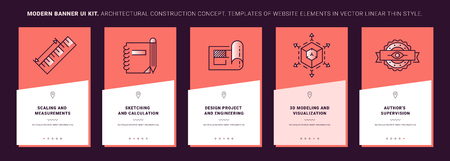 Ui kit banners of interior design process. Concept interior design in line icon style. Building process illustration. Trendy vector thin graphics. Mobile app template on coral background. Ui elements. Ilustração
