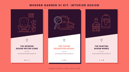 Ui kit banners of interior design process. Concept interior design in line icon style. Building process illustration. Trendy vector thin graphics. Mobile app template on coral background. Ui elements. 일러스트