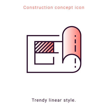Structure paper icon. Construction plan symbol in vector line style. Architecture banner on white background. Building concept, strategy, plan, planning. Engineering concept.