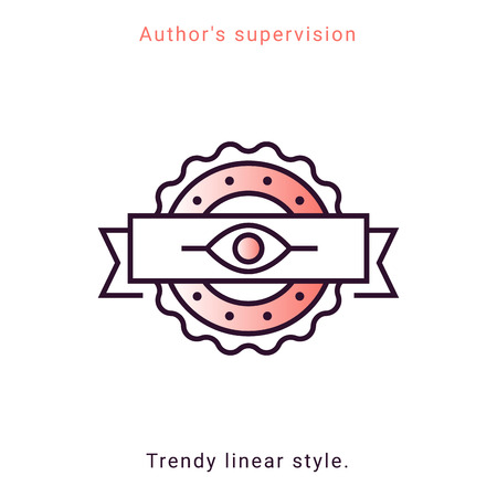 Authors supervision icon in vector line style. Architecture supervision trendy emblem in minimal graphic on white background. App template on coral background. Ui design elements.