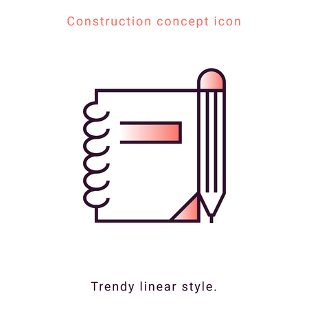 Symbol notepad line icon on white background. Design element. Vector button template. Pencil drawing. Education symbol. Note vector emblem. Notebook linear badge.