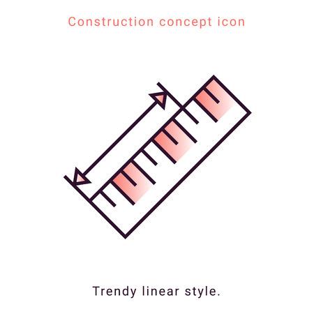 Ruler vector icon in line art style. Concept measurement vector linear illustration. Flat design modern vector illustration. Button, icon. Geometric shape. Interior design process. Ilustração