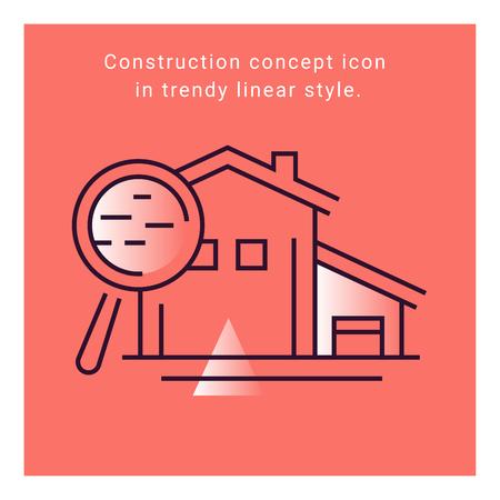 Interior design flat icon on coral background illustration. Concept construction indoor symbol. Building apartment linear vector banner. Architecture sign. Furniture collection. Ilustração