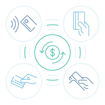 Symbole de paiement à la main dans un style plat sur fond blanc. Plate illustration vectorielle. Services bancaires en ligne. Concept d'icône d'investissement commercial. Jeu d'icônes de magasinage. Icône de ligne d'homme d'affaires. Paiement en ligne.
