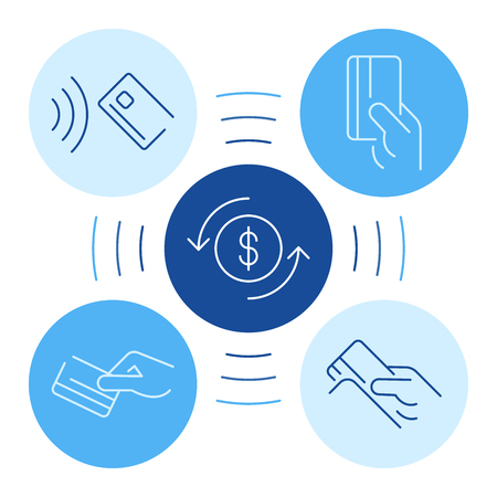 Hand payment symbol in flat style on white background. Vector flat illustration. Online banking. Business investment icon concept. Shopping icon set. Businessman line icon. Online payment.