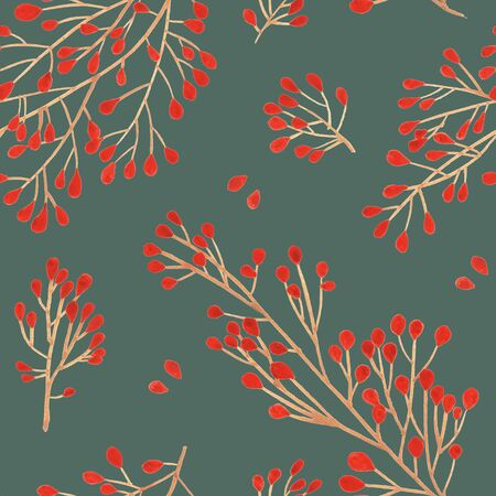 Seamless pattern with Pine cone xmas branch with red berry isolated fir on Agave green. Christmas party flyer design concept. Winter sale fair branding. New Year seasonal celebration greeting card. Stock Photo