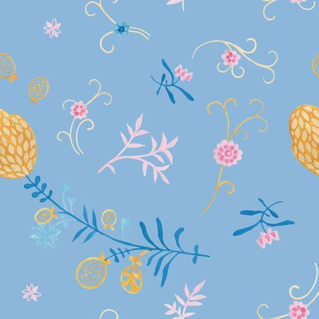 Bluestone pattern design. Wrapping gift paper flower decoration. Hand painted gouache elegant leaves and twigs. Elegance Middle Ages floral ornament. Floral seamless pattern for Mediterranean decor