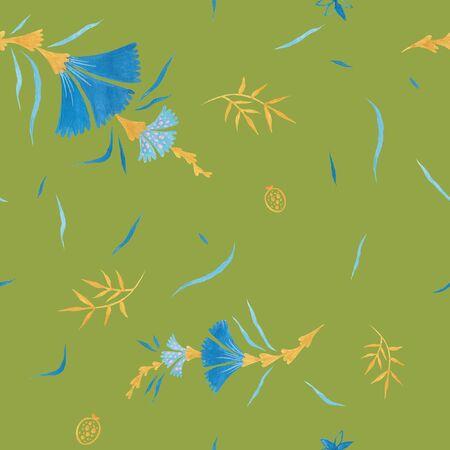 Tea green modern illustration plate decoration. Tea rose and clematis natural petals. Varicolored feminine fabric design. Renaissance flower art. Floral seamless pattern for Mediterranean decor Reklamní fotografie