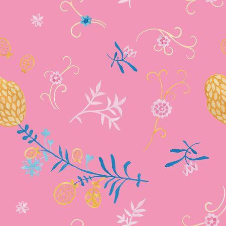 Chrysanthemum modern illustration plate decoration. Tea rose and clematis natural petals. Varicolored feminine fabric design. Renaissance flower art. Floral seamless pattern for Mediterranean decor Reklamní fotografie