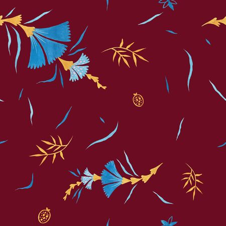 Biking red color modern illustration plate decoration. Repeating leaves, petal thorns pattern. Soulful flora expression. Mediterranean cloth yard decor. Elegance plate serving seamless ornament