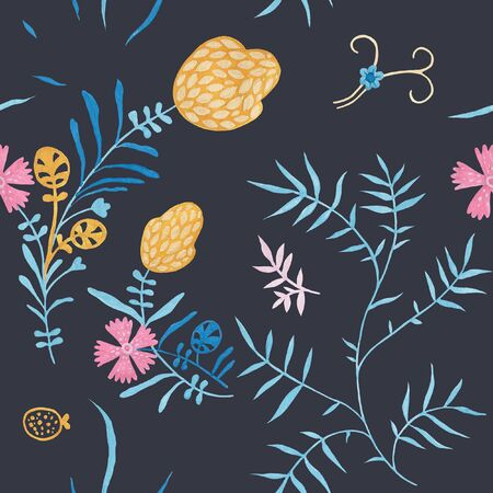 Evening blue pattern design. Wrapping gift paper flower decoration. Hand painted gouache elegant leaves and twigs. Elegance Middle Ages floral ornament. Floral seamless pattern for Mediterranean decor