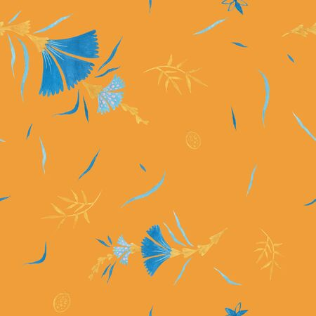 Orange color modern illustration plate decoration. Tea rose and clematis natural petals. Varicolored feminine fabric design. Renaissance flower art. Floral seamless pattern for Mediterranean decor