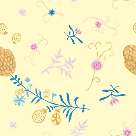 Vanilla color pattern. Wrapping gift paper flower decoration. Hand painted gouache elegant leaves and twigs. Elegance Middle Ages floral ornament. Floral seamless pattern for Mediterranean decor