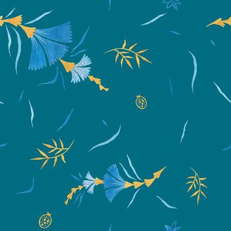 Infinity color modern illustration plate decoration. Tea rose and clematis natural petals. Varicolored feminine fabric design. Renaissance flower art. Floral seamless pattern for Mediterranean decor Reklamní fotografie