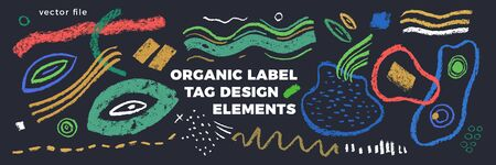 Organic label tag elements on gray background with vector vegan icons, nature abstract signs, natures, veganism symbols, organic banner template for trendy design of healthy food, eco-product things.