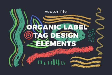 Organic label tag elements on graphite background with vector vegan icons, nature abstract signs, natures, veganism symbols, organic banner template for trendy design of healthy food, eco-product things. Ilustrace