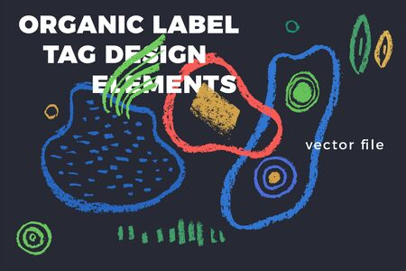Organic label tag elements on dark background with vector vegan icons, nature abstract signs, natures, veganism symbols, organic banner template for trendy design of healthy food, eco-product things. Illustration