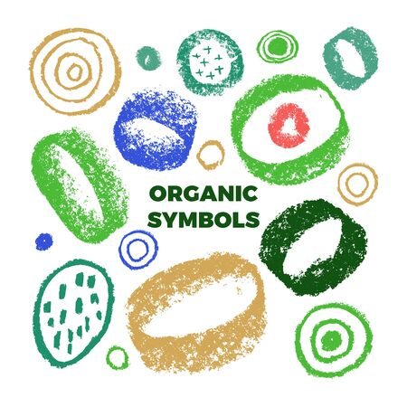 Organic colorful shapes with natural vector textures. Organic emblem with Hand drawn natural elements for healthy food symbol design. Eco friendly sign, vector vegan icons, raw logo. Abstract badges.