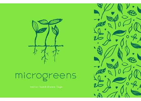 Vector hand-drawn emblem for agricultural logo with microgreen concept. Eco emblem with growing leaf for label of baby plants. Growth icon with vegetable greens for bio company and home cultivating. Vector hand-drawn emblem for agricultural logo with microgreen concept. Eco emblem with growing leaf for label of baby plants. Growth icon with vegetable greens for bio company and home cultivating. Logo