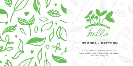 Healthy eating symbols. Vegetal pattern for banner design with hand-drawn green icons. Herbs emblems. Vector floral silhouettes for Eat healthy concept and organic farming, healthy food label. Illustration