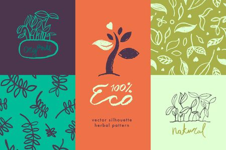 Healthy eating symbols. Vegetal pattern for banner design with hand-drawn green icons. Herbs emblems. Vector floral silhouettes for Eat healthy concept and organic farming, healthy food label.