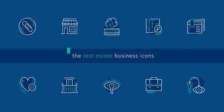 Vector set icons for real estate business in trendy minimal line style. Thin linear real estate sign for button UI, mobile app, website design. Contour plan apartment icon. Commercial estate symbols.