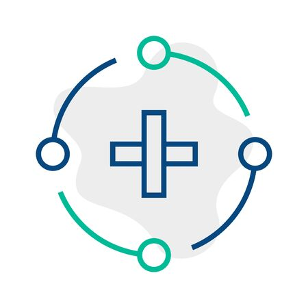 Vector icon add document in trendy minimalistic line style. Thin linear addition sign for UI button, mobile app. Contour cross icon or medical cross symbol. Outline emblem of plus of positive sign. Ilustração