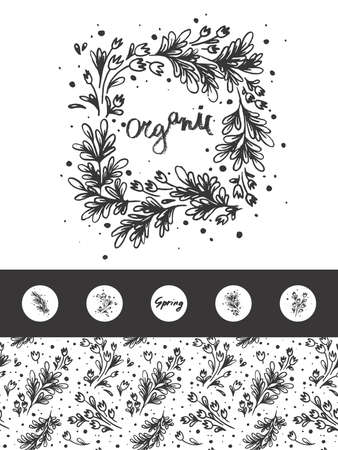 Vector flower wreath with hand drawn flowers. Natural seamless pattern for label cosmetics. Herb wreath Illustration for florist store. Floral emblem for organic sign, chaplet symbol. Tulip garland.