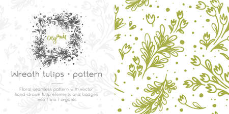 Vector flower seamless pattern. Hand drawn tulip wreath. Natural banner template. Romantic vintage wedding invitation card. Floral emblem for label bio cosmetic with Tulip garland and herb background.