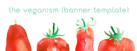 Homemade cooking banner with hand drawn illustration of tomato. Healthy food concept. Organic ingredients for restaurant background. Bio tomatoes in watercolor style. Vegetarian food - Cooking courses