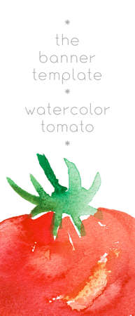 Vegetarianism - vertical template banner. Bio food background with watercolor tomatoes. Natural vegetarian food backdrop with tomato paste illustration. Vegetable kitchen for Healthy eating - Diet. 免版税图像